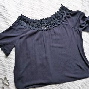 Carolyn Taylor lace off the shoulder crinkle top